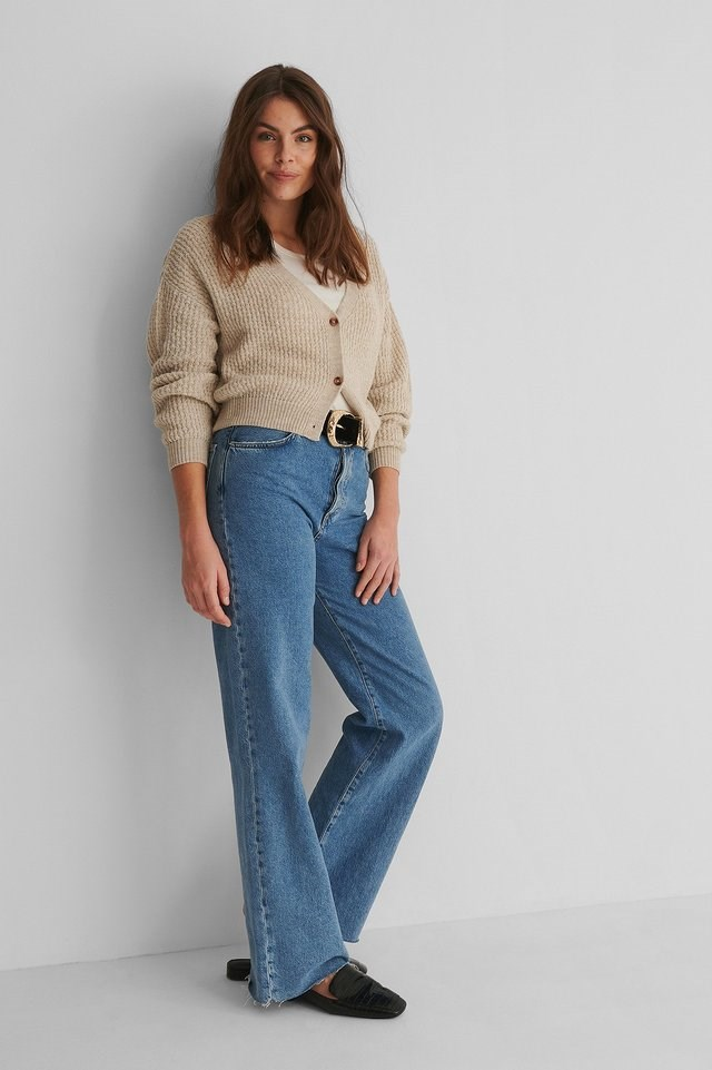 Dropped Shoulder Knitted Buttoned Cardigan Outfit.