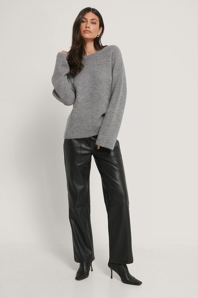 Alpaca Blend Round Neck Knitted Sweater Outfit.