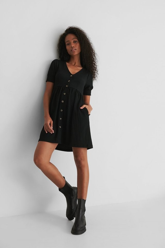 Button Up Jersey Dress Outfit.