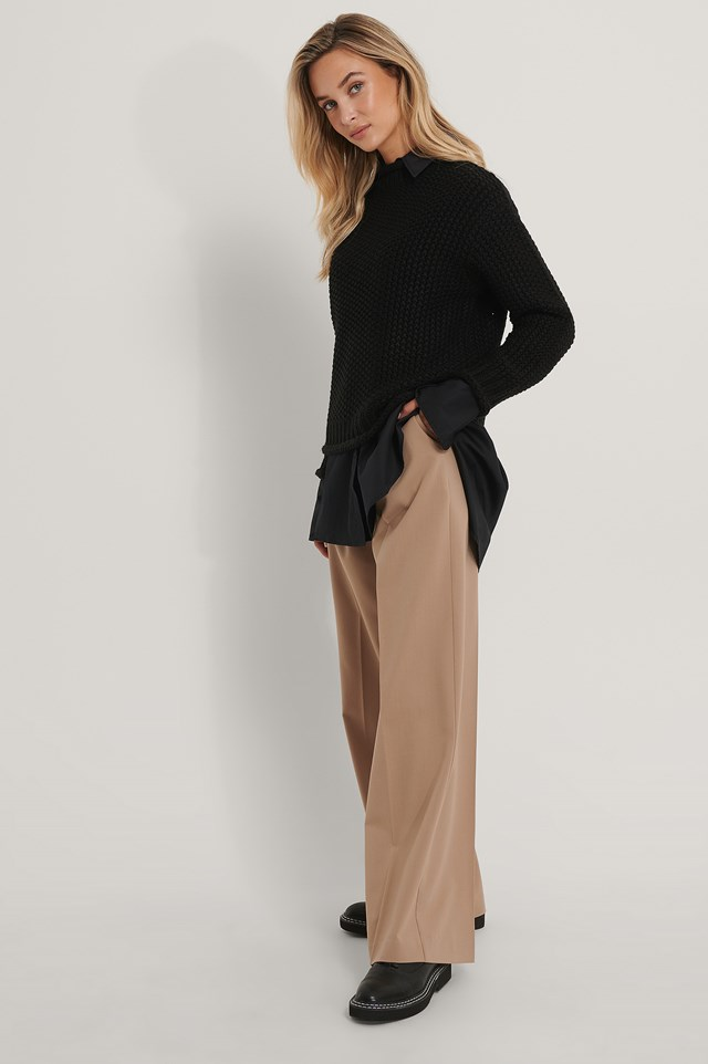 Waffle Knit High Neck Sweater with Suit Pants.