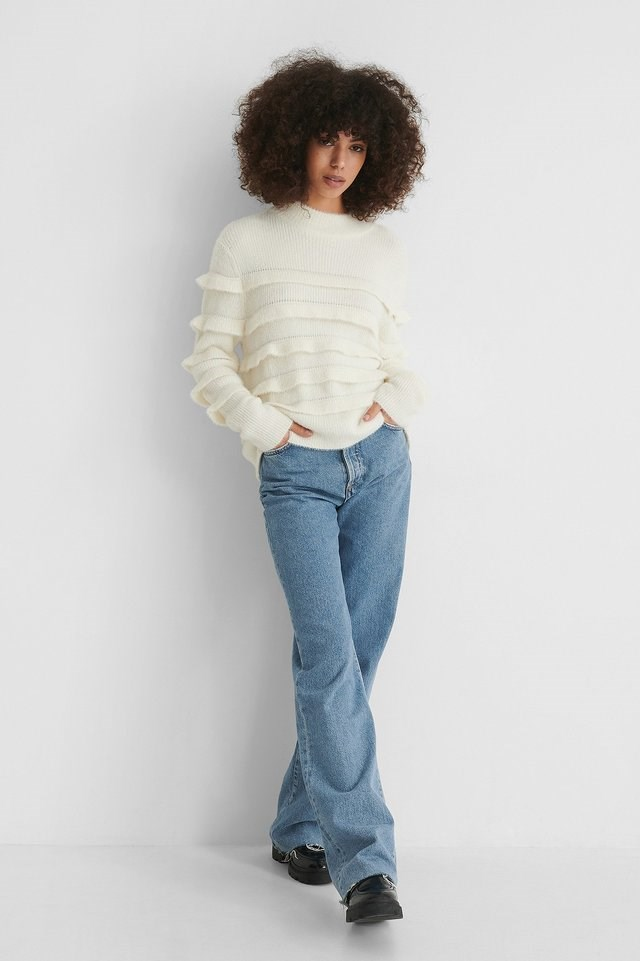 Flounce Knitted Sweater Outfit.