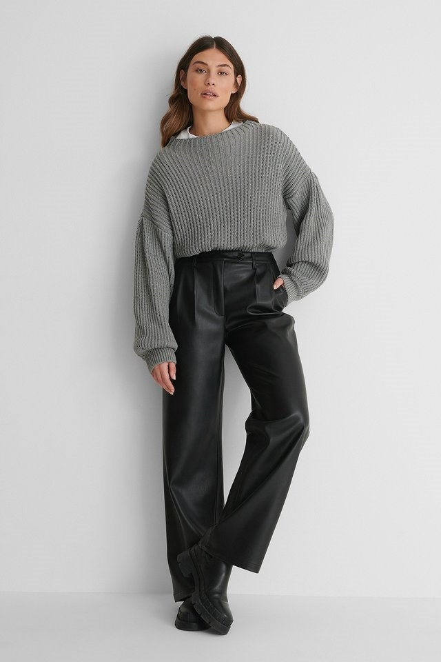 Balloon Sleeve Knitted Sweater Outfit.