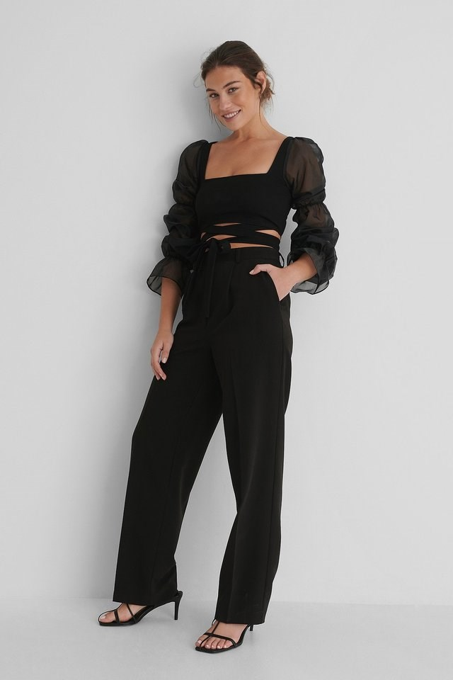 Organza Wrap Around Top Outfit.
