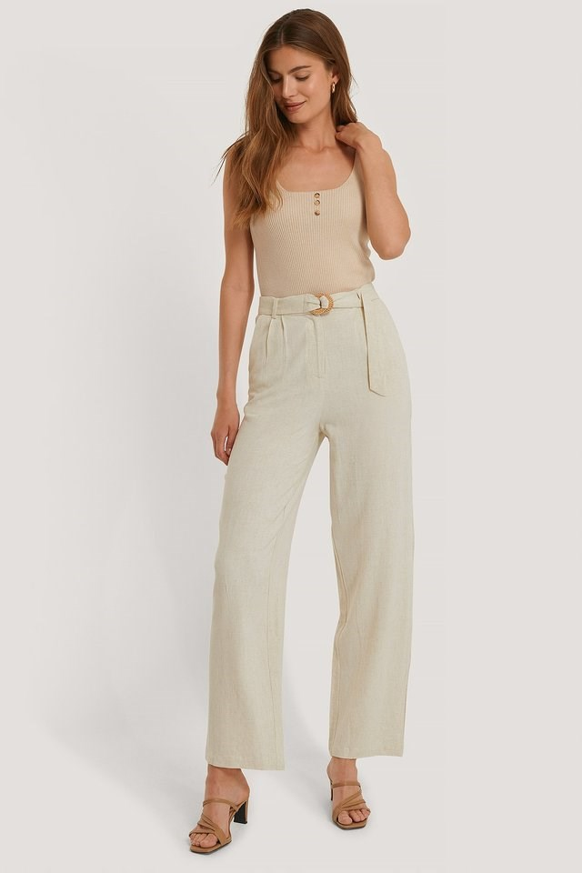 Linen Blend Belted Pants Outfit.