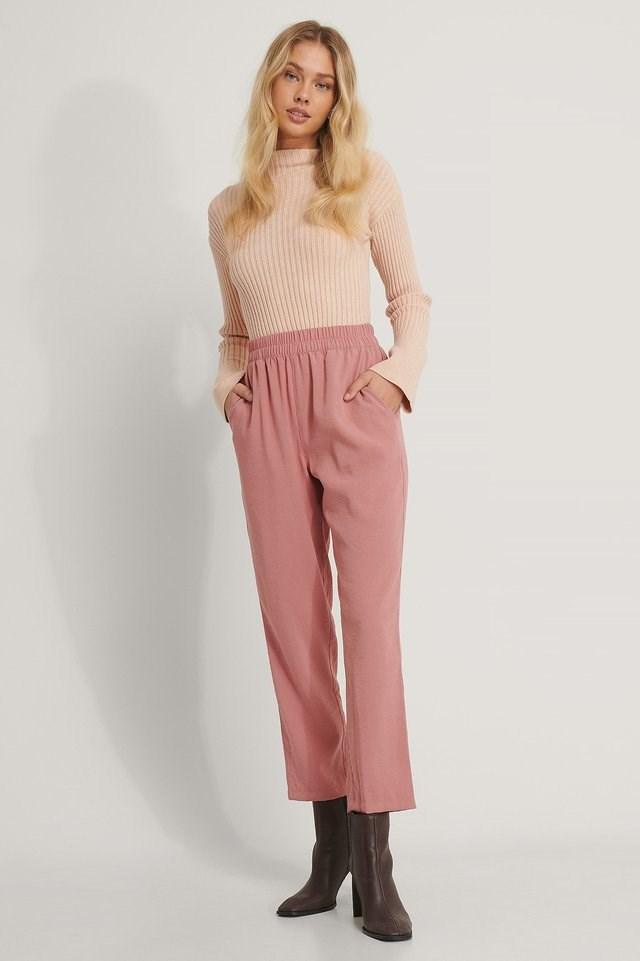 Dusty Dark Pink Elastic Waist Pants