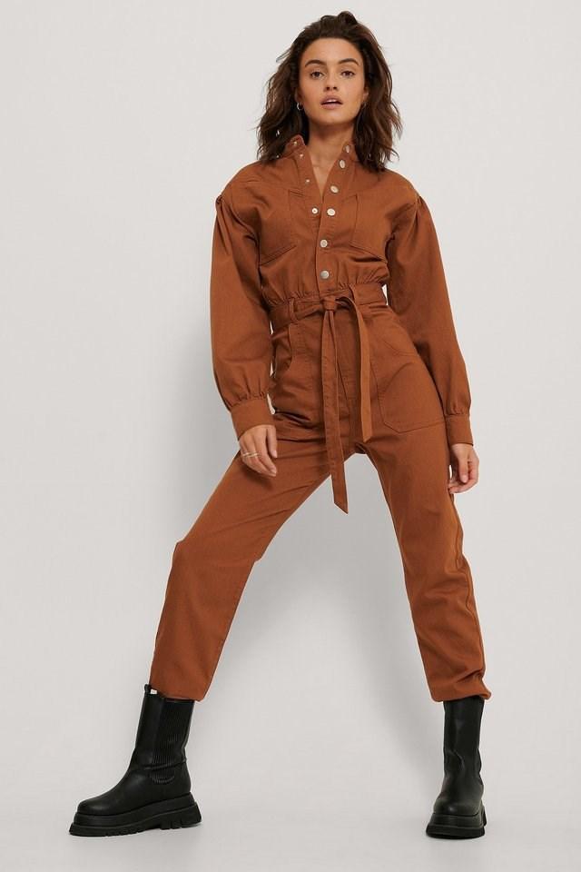 Colored Denim Jumpsuit Outfit.