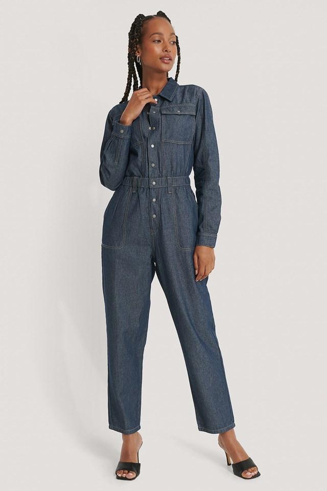 Oversized Boiler Denim Suit Outfit.