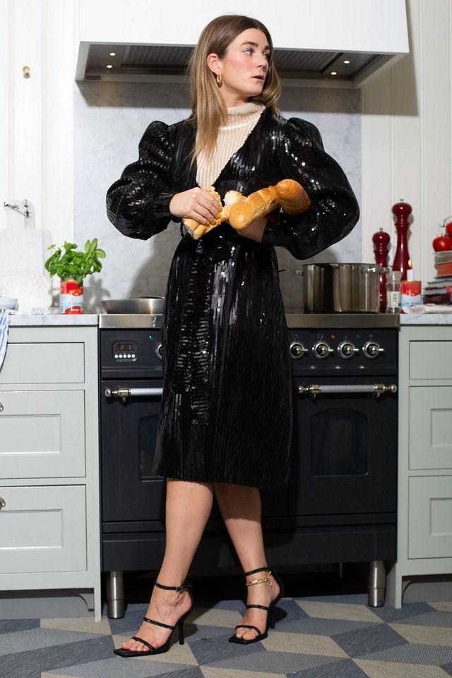 Tie Waist Wrap Sequin Dress Outfit.