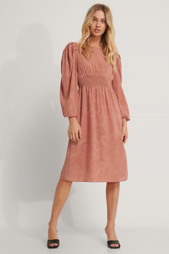 Smock Waist Printed Midi Dress Outfit.