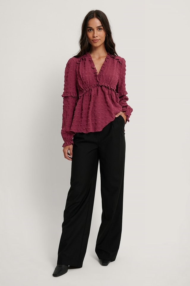 Structured Frill Blouse Outfit.