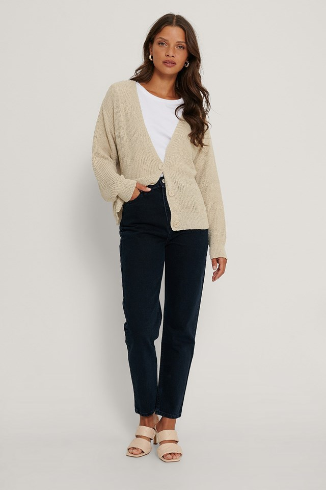 Button Detail Cardigan Outfit.