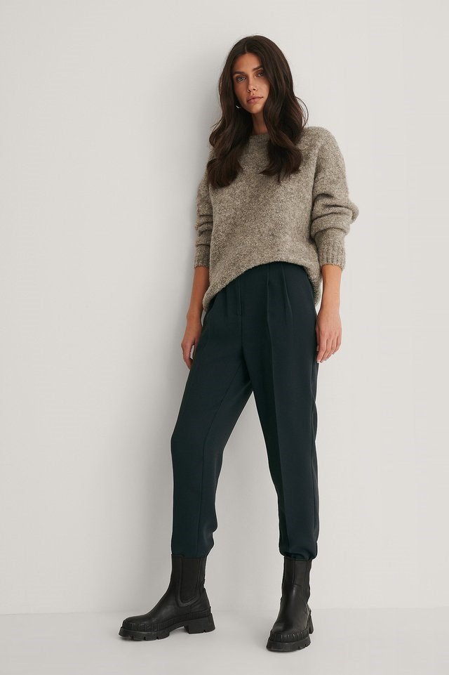 Fluffy Knitted Sweater Outfit.
