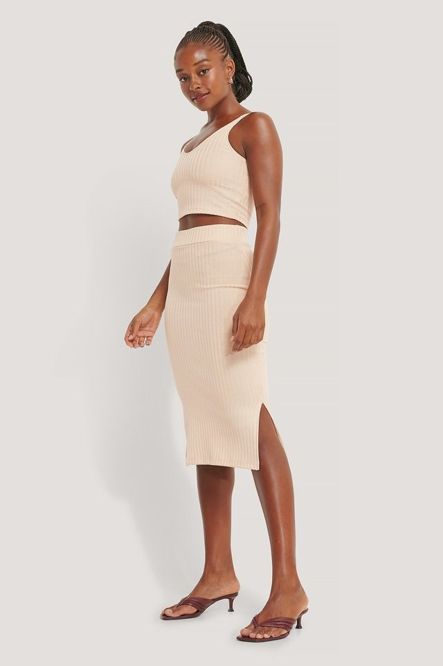 Rib Slit Skirt Outfit.