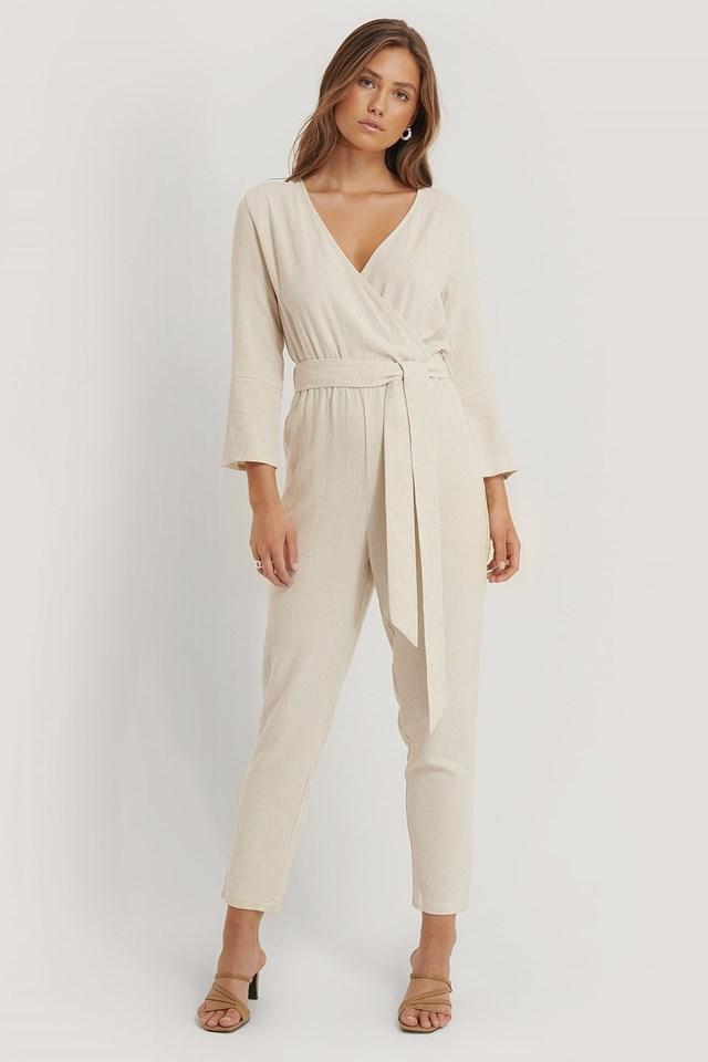 Linen Blend Jumpsuit Outfit.