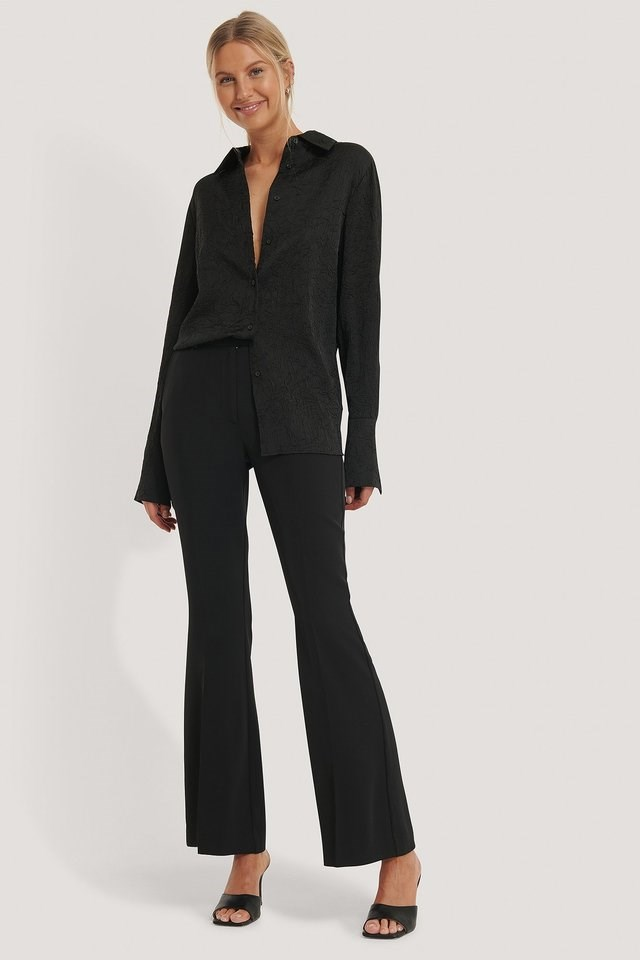 Black Flared Tailored Suit Pants