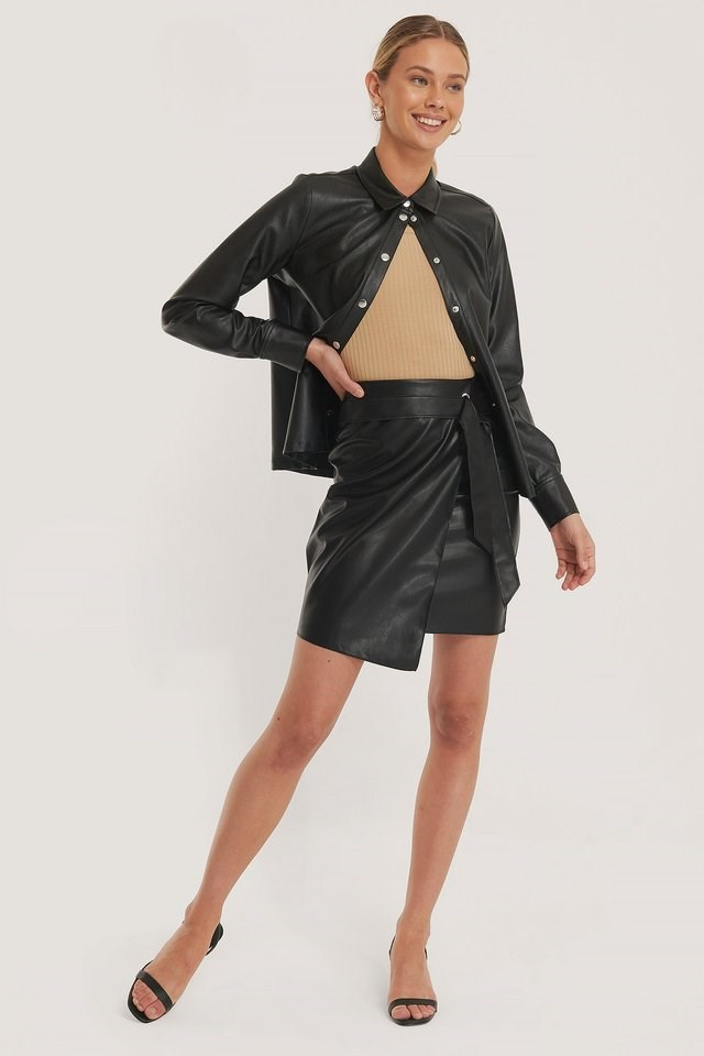 Overlap Tie PU Skirt Outfit.