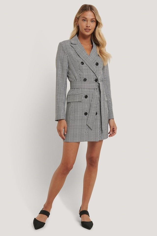 Double Breasted Houndtooth Blazer Dress Outfit.