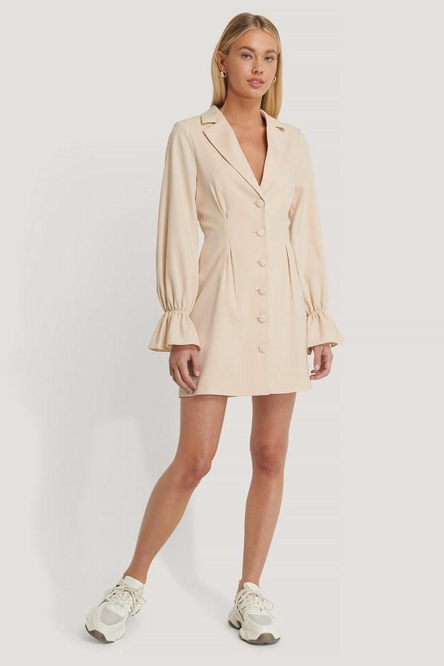 Pink Sand Sleeve Details Blazer Dress
