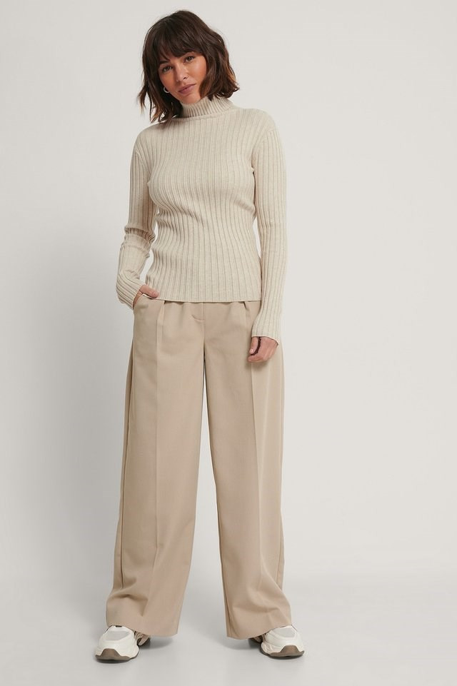Ribbed Knitted Polo Sweater Outfit.