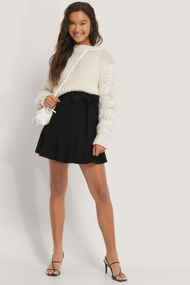 Tie Waist Flounce Skirt Outfit.