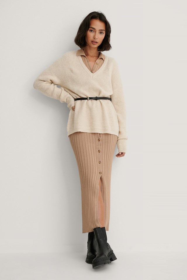 Alpaca Blend V-neck Knitted Sweater Outfit.