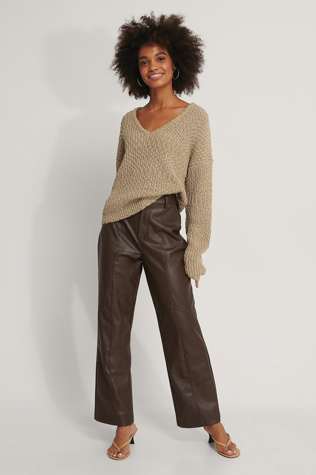 Front V-neck Knitted Sweater Outfit.
