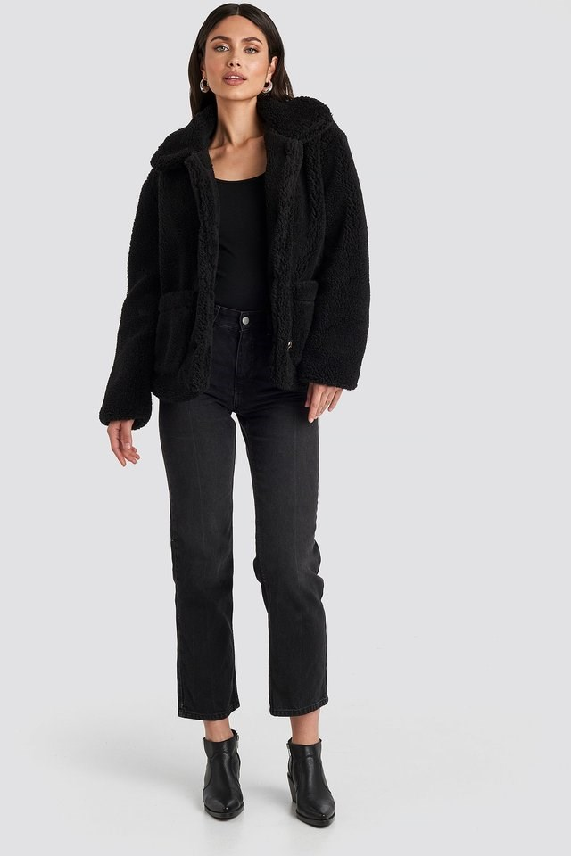 Black Button Teddy Jacket