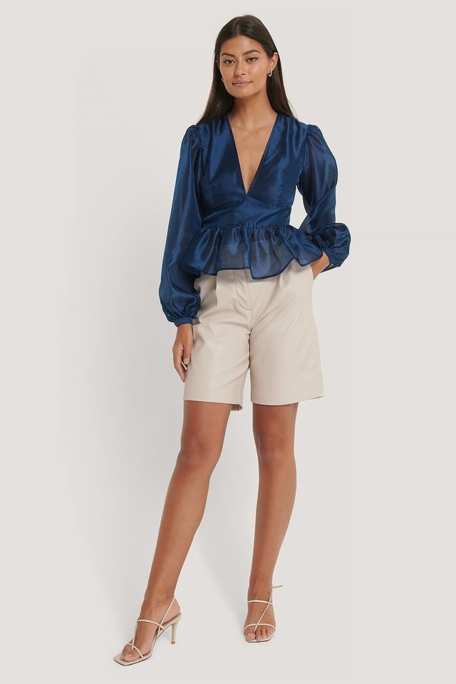 V-neck Frill Blouse Outfit.