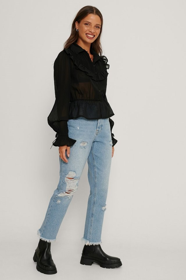 Western Detail Chiffon Blouse Outfit.