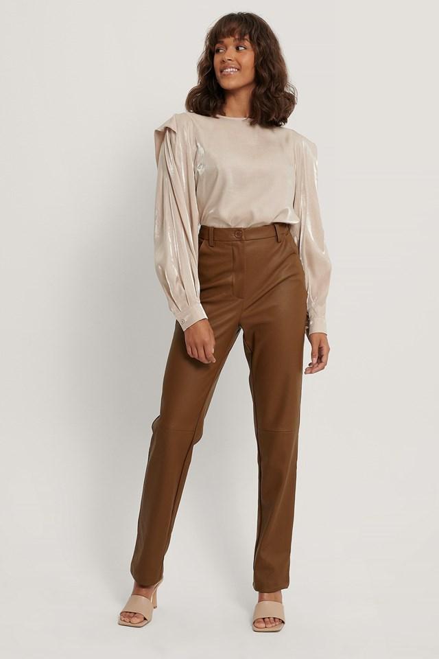Bolded Shoulder Shiny Blouse Outfit.