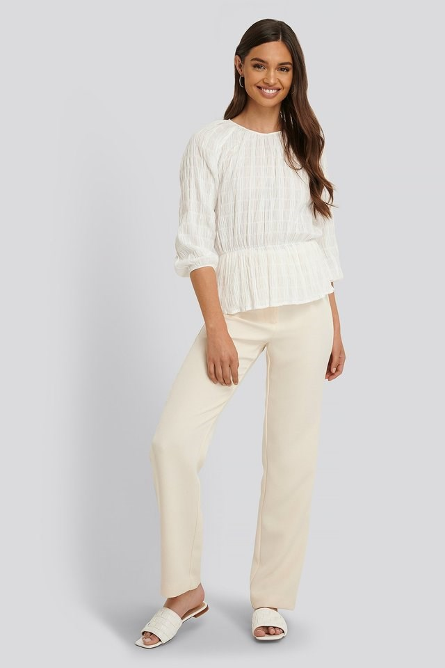 Marked Waist Structured Blouse Outfit.