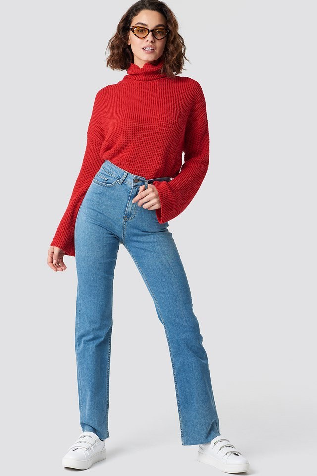 Casual Denim Pants and Polo Neck Knit Outfit