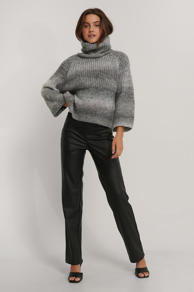 Wide Sleeve Melange Knitted Sweater Outfit.