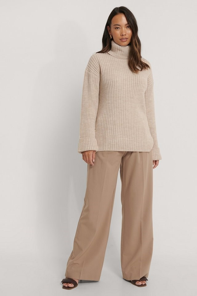 Ribbed Knitted Turtleneck Side Slit Sweater Outfit.
