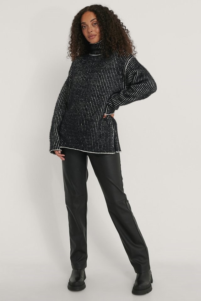 Small Stripe Brushed Knitted Sweater Outfit.