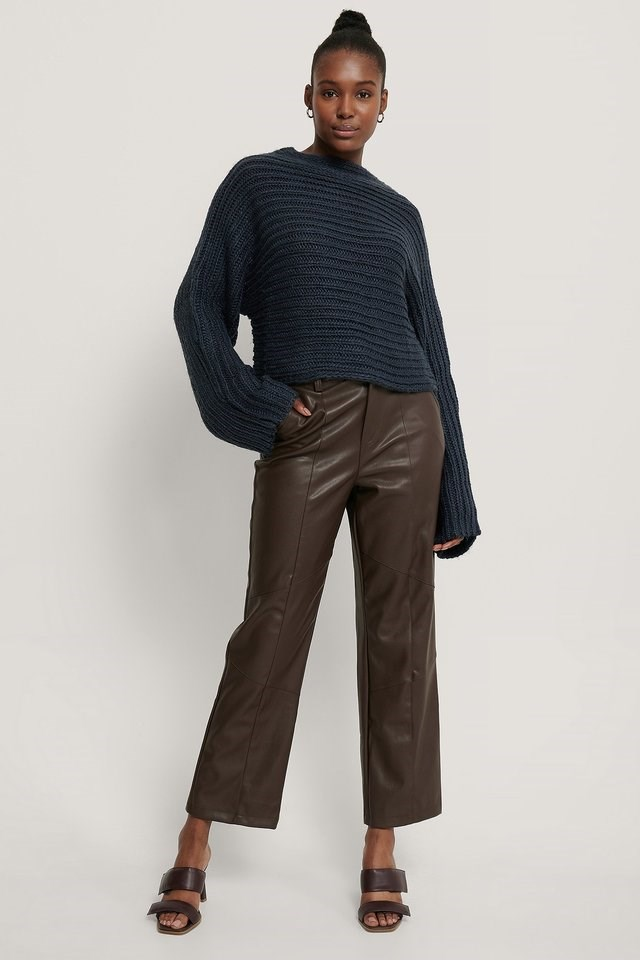 Horizontal Ribbed Knitted Sweater Outfit.