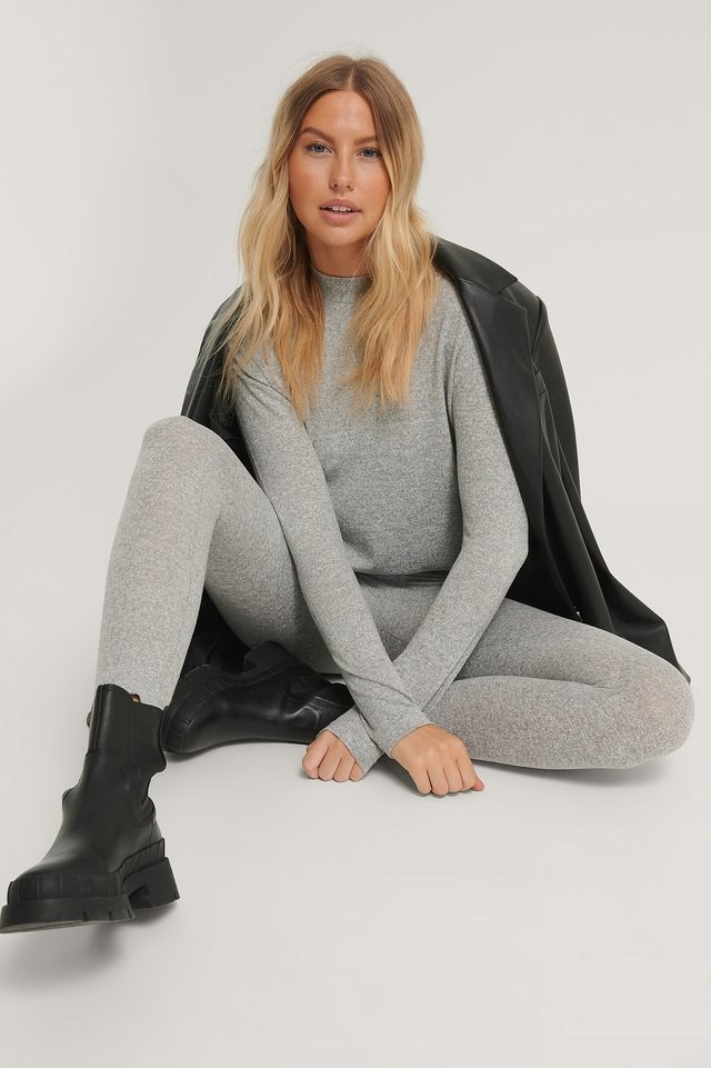 Highneck Soft Lounge Sweater Outfit.