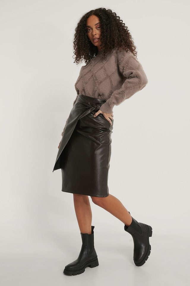 Brushed Detail Knitted Sweater Outfit.