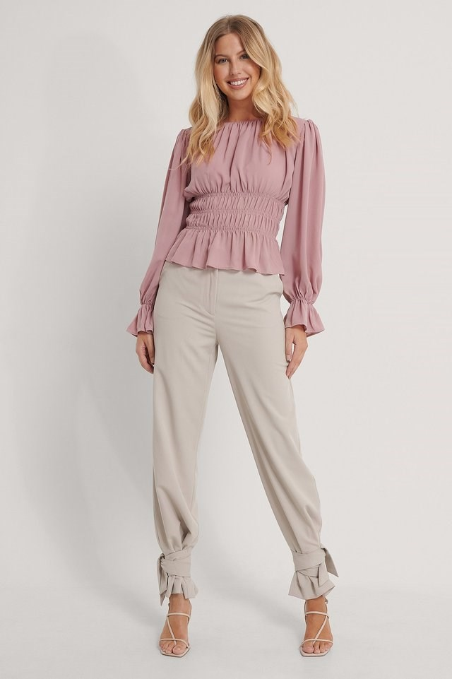 Long Sleeve Smock Waist Top Outfit.