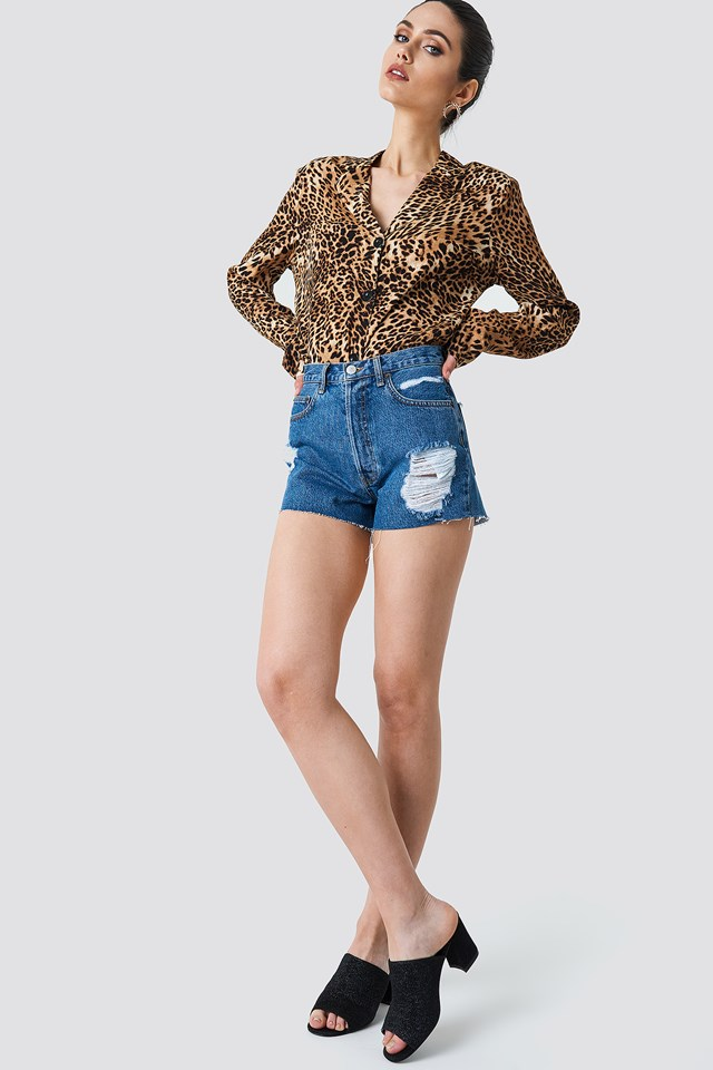 Animal Printed Blouse and Denim Skirt