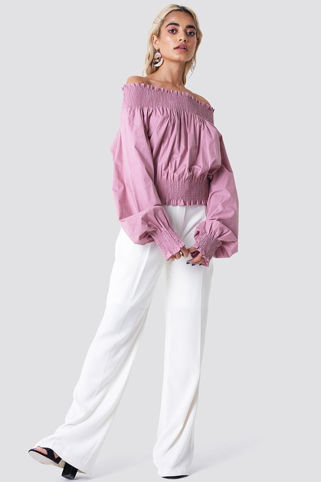 Balloon Sleeve Off Shoulder Top with Trousers