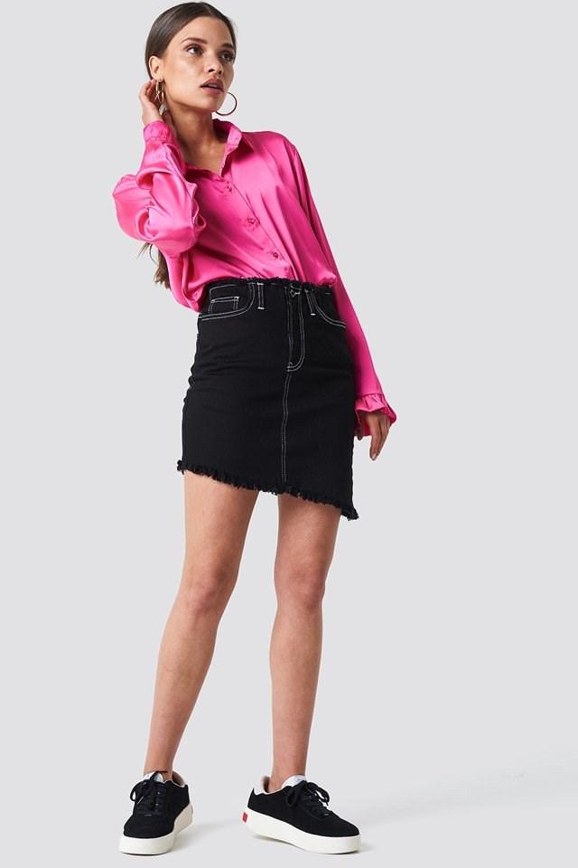 Satin Shirt with Skirt