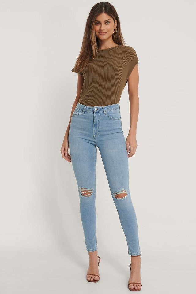 Organic Skinny High Waist Destroyed Jeans.