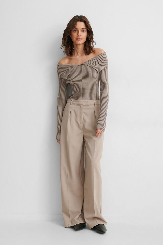 Off Shoulder Ribbed Knitted Sweater Outfit.