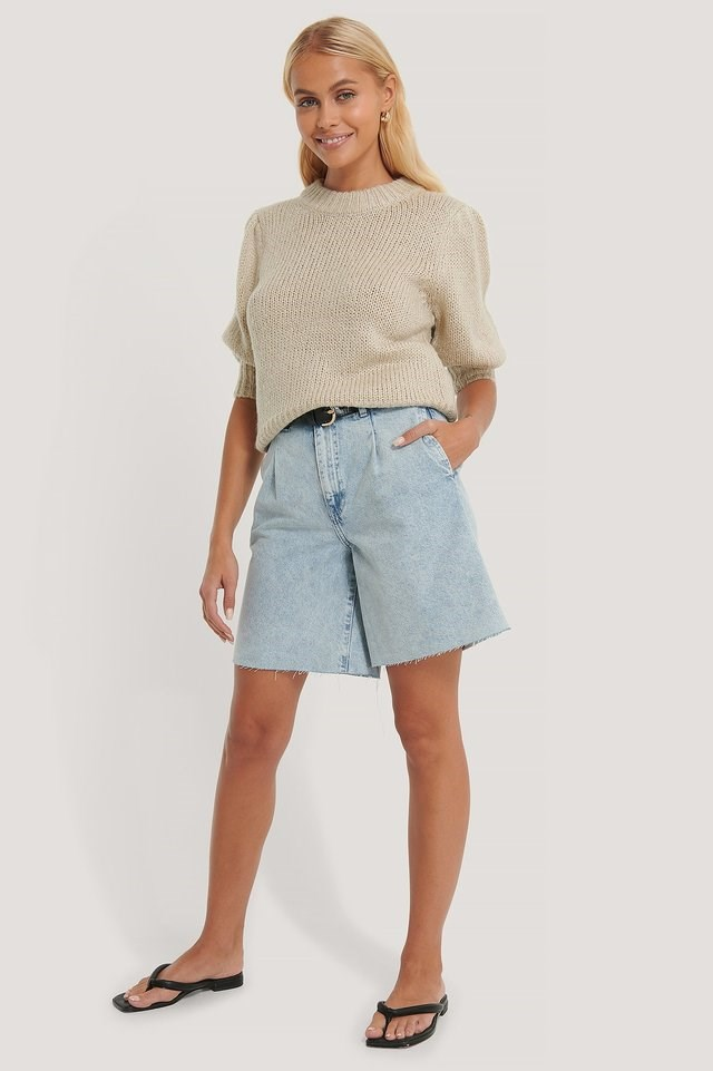 Front Pleat Bermuda Shorts Outfit