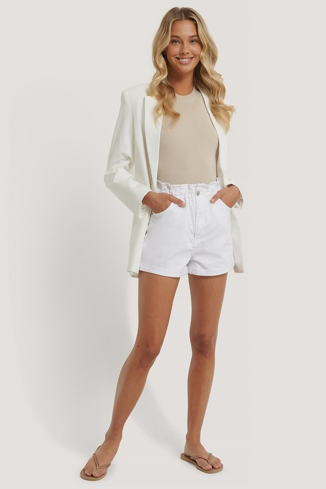 Paper Waist Denim Shorts Outfit.