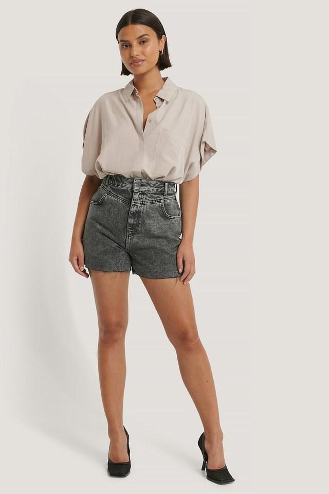 Front Yoke Denim Shorts Outfit.
