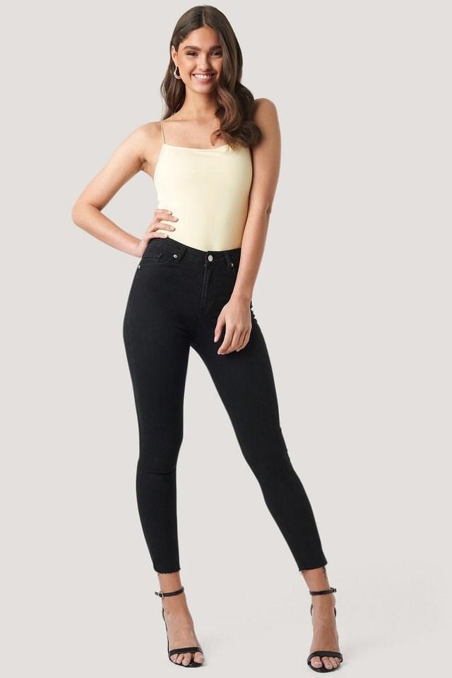 Black Skinny High Waist Open Hem Jeans