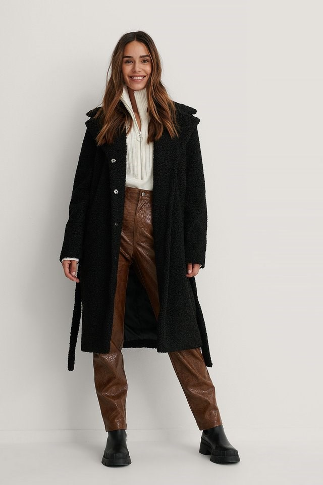 Black Belted Faux Fur Teddy Coat