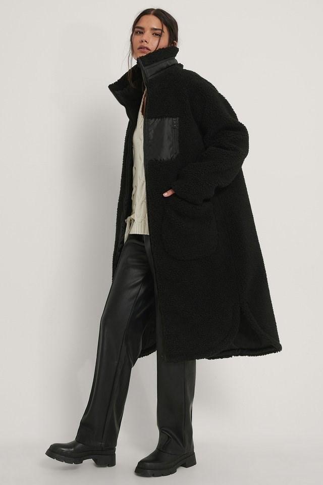 Black Patch Pocket Teddy Coat